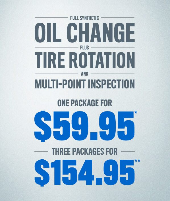 Full Synthetic Oil Change plus tire rotation and multi-point inspection